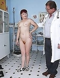 Mature redhead Olga visiting fyno pussy speculum clinic with kinky doctor