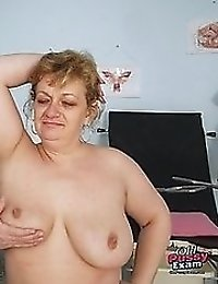 Old Vilma visiting gyno doctor with speculums in his office